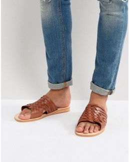 Woven Sandals In Tan Leather