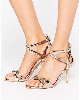 Gareth Rose Gold Heeled Sandals