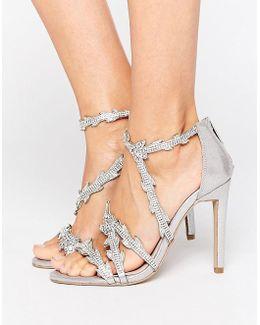 Goa Silver Embellished Heeled Sandals