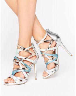 Gum Metallic Multi Strap Heeled Sandals