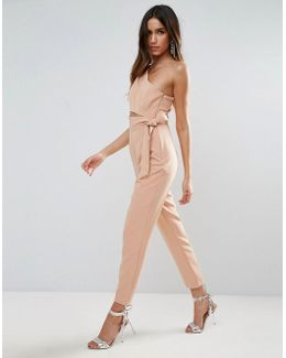 One Shoulder Jumpsuit With Knot Detail