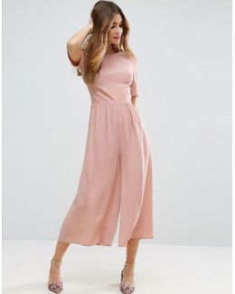 Tea Jumpsuit With Ruched Sleeve Detail