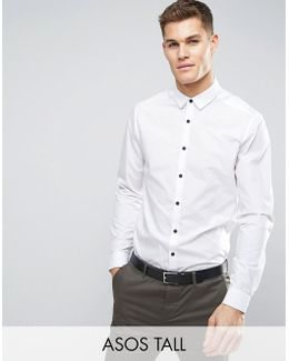 Tall Regular Fit Shirt With Contrast Buttons