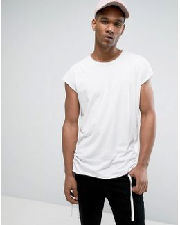 Originals Longline T-shirt With Capped Sleeve And Draw Cord Hem