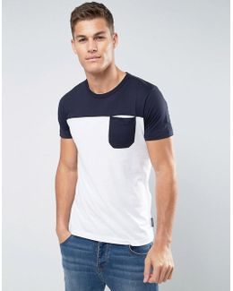 Cut And Sew Top Panel T-shirt With Pocket