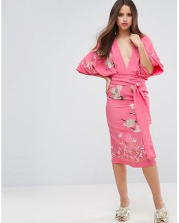 Embroidered Kimono Bird Midi Dress