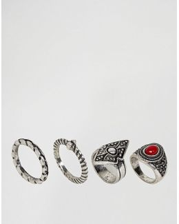 Pack Of 4 Festival Stone And Etched Rings