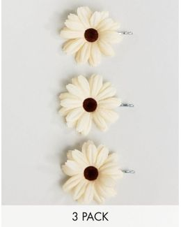 Pack Of 3 Festival Large Daisy Hair Clips