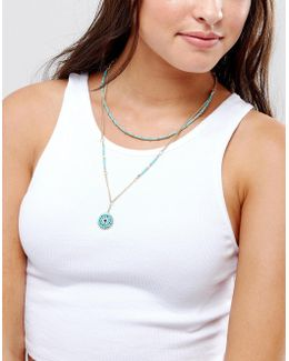Multirow Bead Charm Choker Necklace