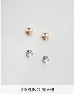 Sterling Silver Faceted Earring Stud Pack