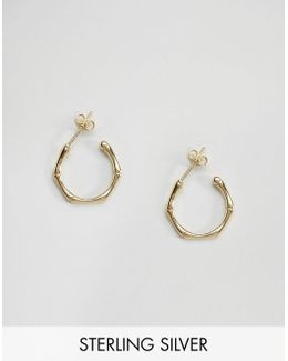 Gold Plated Sterling Silver 18mm Bamboo Earrings
