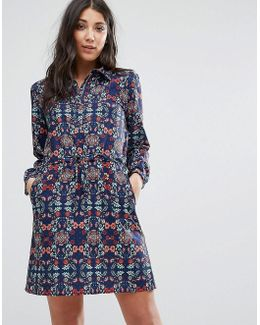 Printed Shirt Dress With Drawstring Waist