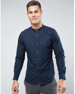 Slim Grandad Shirt With Dot Print