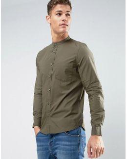 Slim Fit Grandad Shirt With Pocket