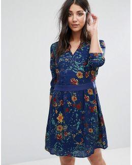 Long Sleeve Printed Skater Dress