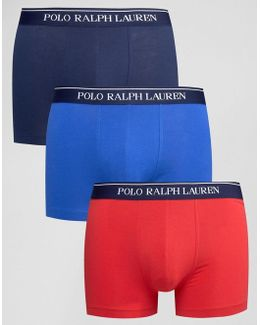 3 Pack Stretch Cotton Trunks With Stripe