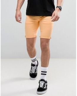 Denim Shorts In Super Skinny Orange