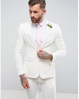 Wedding Super Skinny Suit Jacket In Ecru