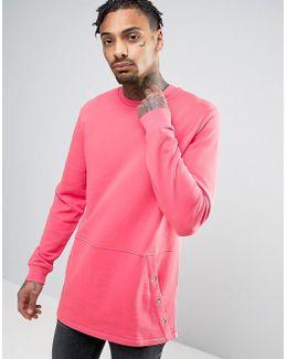 Longline Sweatshirt With Kangaroo Pocket In Pink
