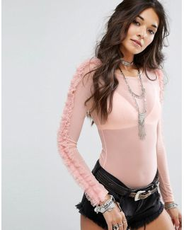 Sheer Body With Long Sleeves And Ruffle Trim