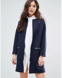 Cocoon Zip Front Coat