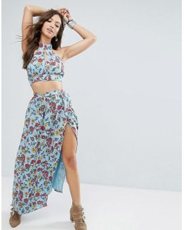 Wrap Front Maxi Skirt In Floral Print Co-ord