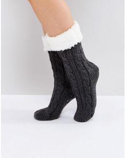 Cable Lounge Socks With Fleece Top