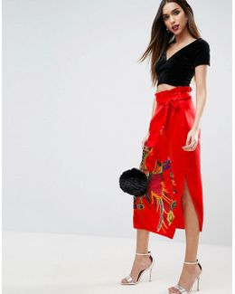 Embroidered Midi Skirt In Satin With Paperbag Tie Waist