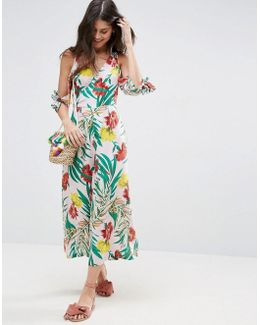Cold Shoulder Jumpsuit In Tropical Print