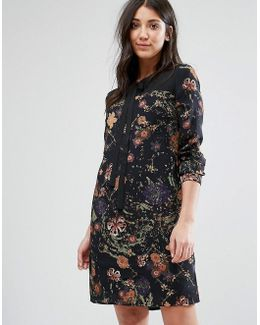 Printed Shift Dress With Tie Neck