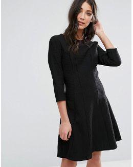 3/4 Sleeve Strutured Skater Dress