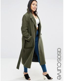 Wool Blend Midi Coat With Tie Belt