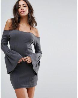 Flared Sleeve Bardot Ribbed Mini Dress