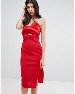Scuba Bow Detail Bodycon Dress