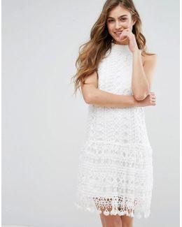 Drop Waist Crochet Lace Shift Dress