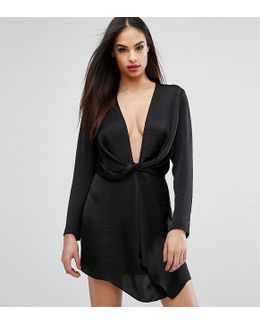 Plunge Front Twist Mini Dress
