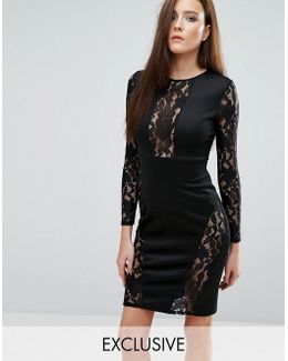 Lace Insert Panel Midi Dress