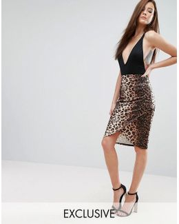 Leopard Print Wrap Pencil Skirt