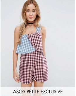 Mixed Gingham One Shoulder Romper