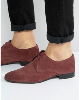 Derby Shoes In Purple Suede