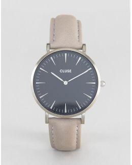 La Boheme Black & Gray Leather Watch