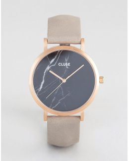 La Roche Rose Gold & Black Marble Leather Watch
