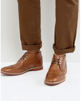 Brogue Chukka Boots In Tan Leather
