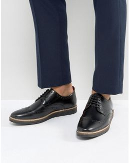 Brogue Shoes In Black Leather With Black Wedge Sole