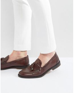 Loafers In Burgundy With Charm Detail