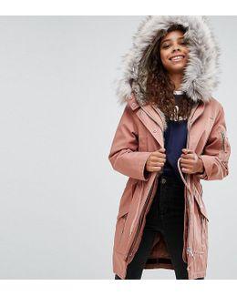 Parka With Detachable Faux Fur Liner