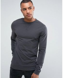 Muscle Sweatshirt In Washed Black