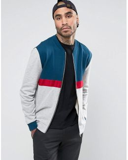 Jersey Bomber Jacket With Cut & Sew In Grey