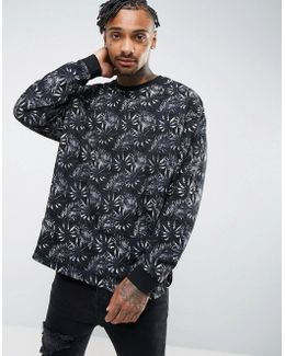 Oversized Longline Sweatshirt With Floral Print