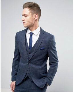 Slim Suit Jacket In Window Pane Check